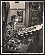 [Wilbur Herbert Burnham designing a stained glass window ]