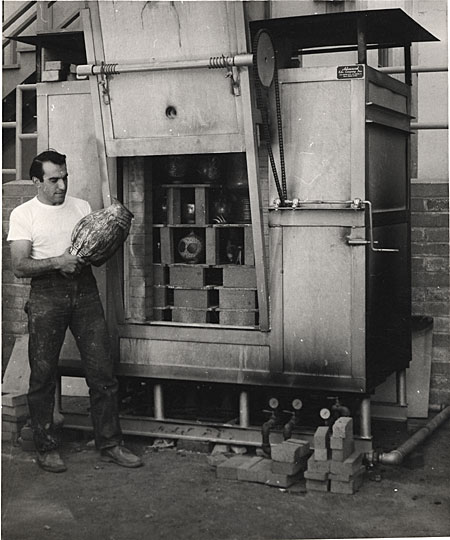 [Peter Voulkos at a kiln]
