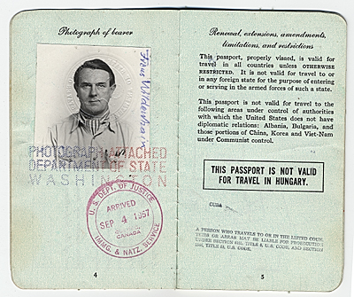 Frans Wildenhains passport