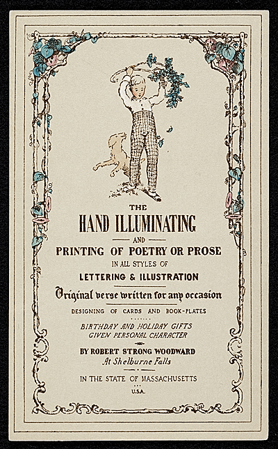 An advertisement for the hand illuminating services of Robert Strong Woodward