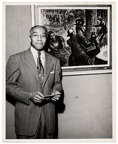 [Portrait of Ellis Wilson with his painting]
