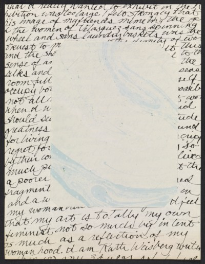 Collage of handwritten statement and marbled paper