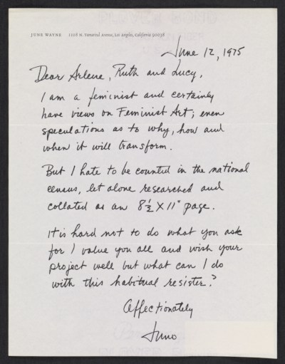 [June Claire Wayne, Los Angeles, Calif. letter to Arlene Ranen, Ruth Iskin and Lucy Lippard]