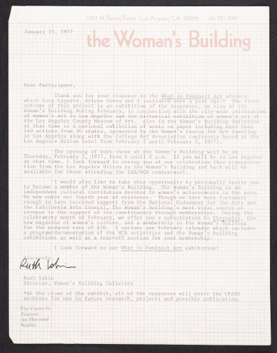 [Ruth Iskin memorandum to unidentified recipient]