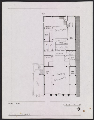 [Floor plan for the proposed Woman's Building, 719-725 S. Spring Street, first floor]