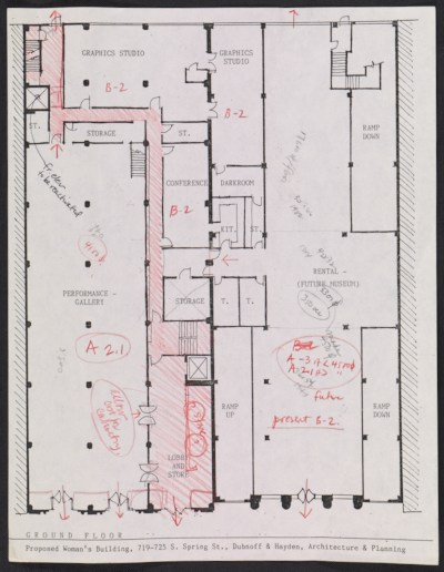 [Floorplan for the proposed Woman's Building, 719-725 S. Spring Street, ground floor]