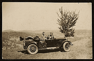 Robert Strong Woodward in a car