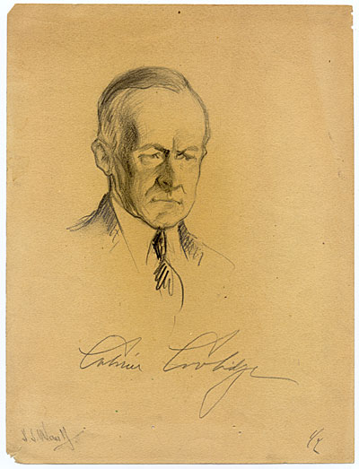 [Samuel J. Woolf sketch of President Calvin Coolidge]