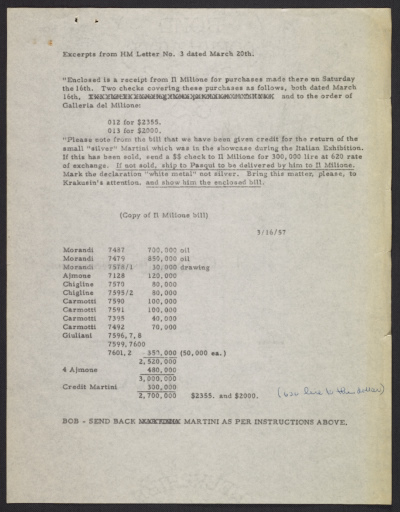 Typescript notes pertaining to a purchase by Herbert Mayer from Il Milione