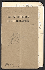 Catalogue of an exhibition of lithographs by the late James McNeill Whistler
