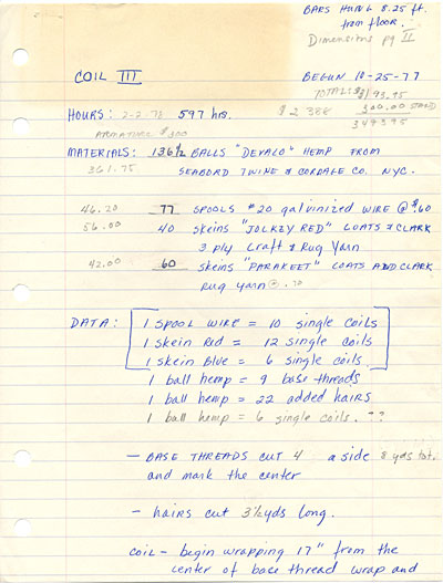 Zeislers notes on the construction of Coil III - A Celebration