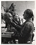William Zorach working on a portrait bust