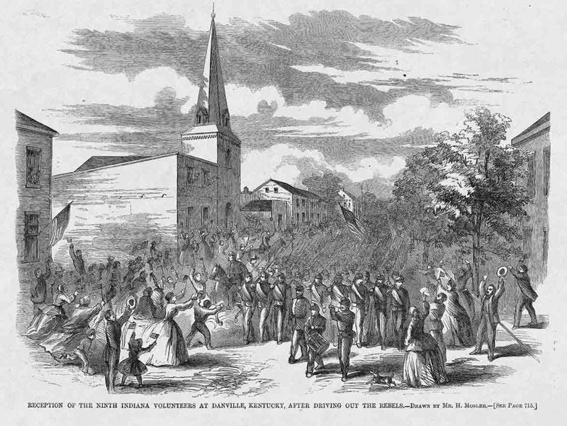 Reception of the Ninth Indiana Volunteers at Danville, Kentucky after Driving Out the Rebels as it was published in Harper's Weekly November 8, 1862