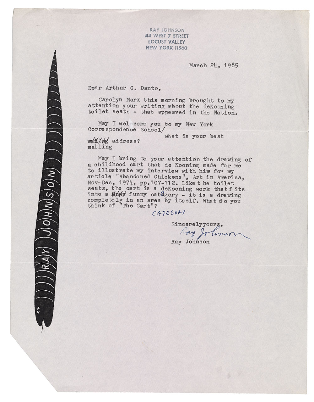 Letter to Arthur C. Danto from Ray Johnson