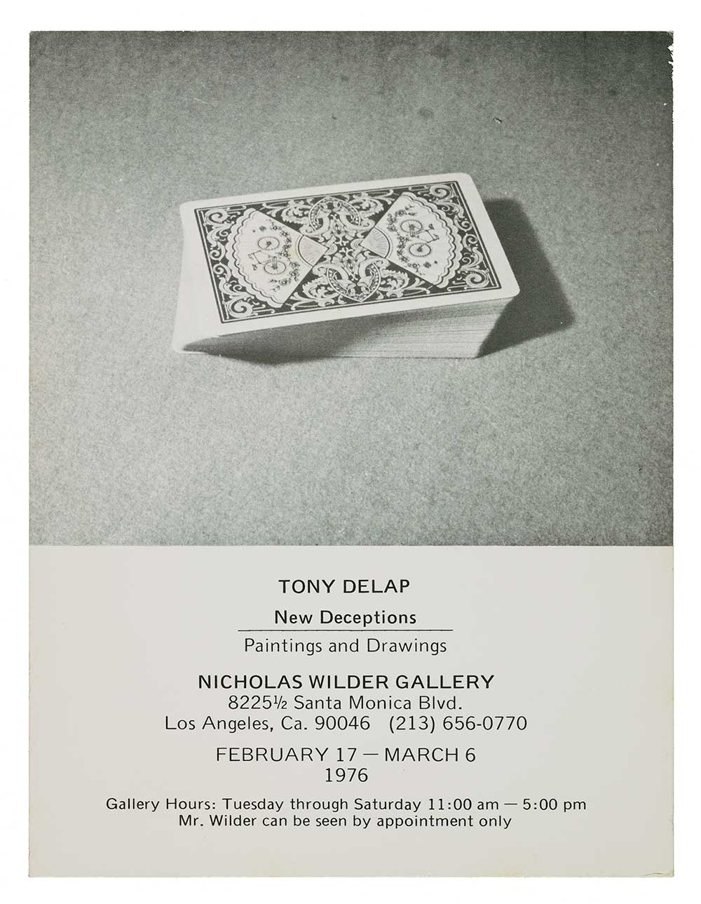 Announcement for Tony DeLap exhibit, New Deceptions