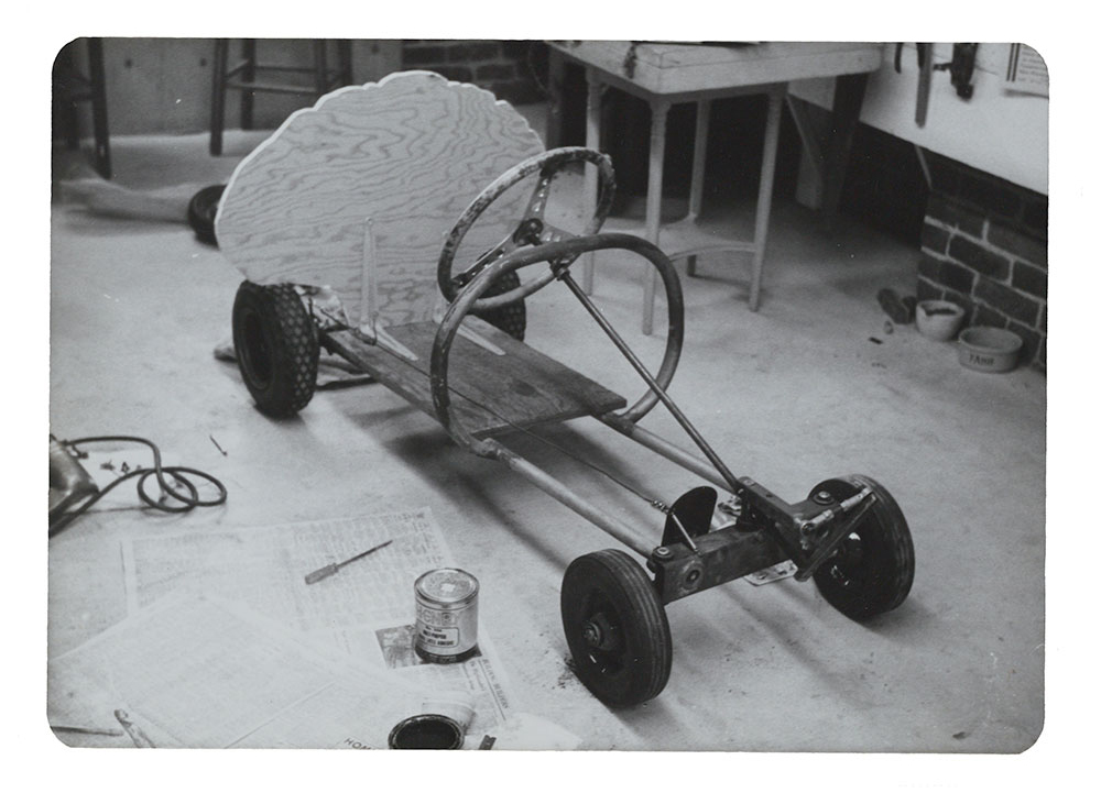 Image of Eleanor Dickinson's Artists' Soap Box Derby Car's basic structure