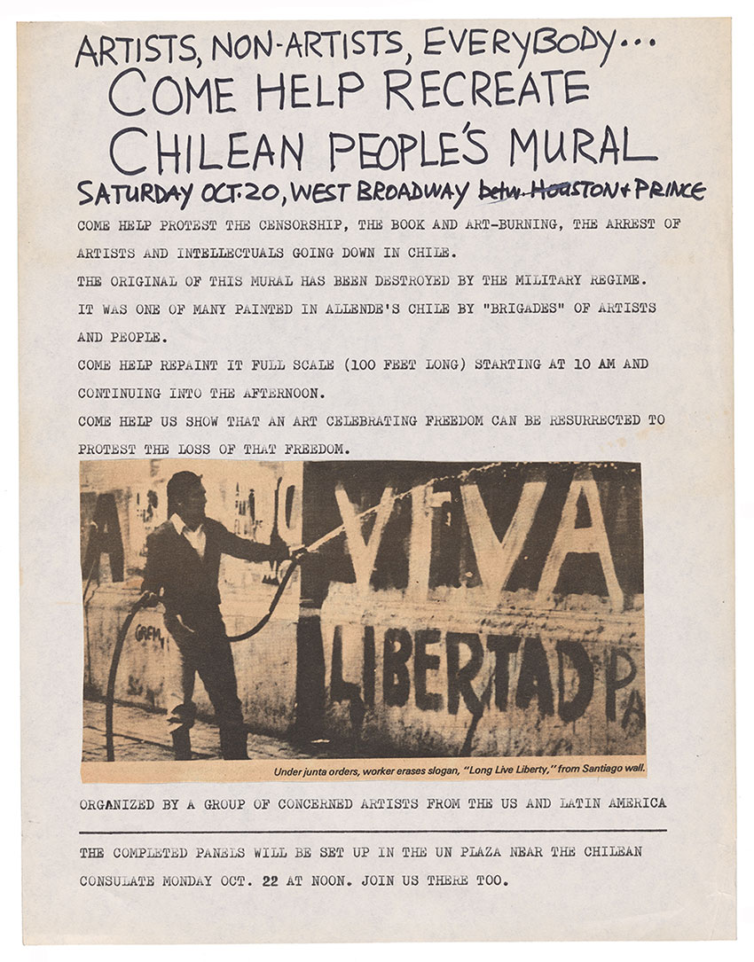 Poster for protest against the Chilean coup, by means of recreating a mural
