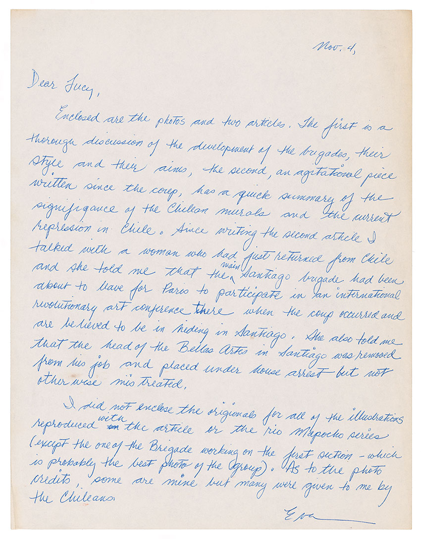 Letter received by Lucy Lippard from Eva Cockcroft, November 4, 1973