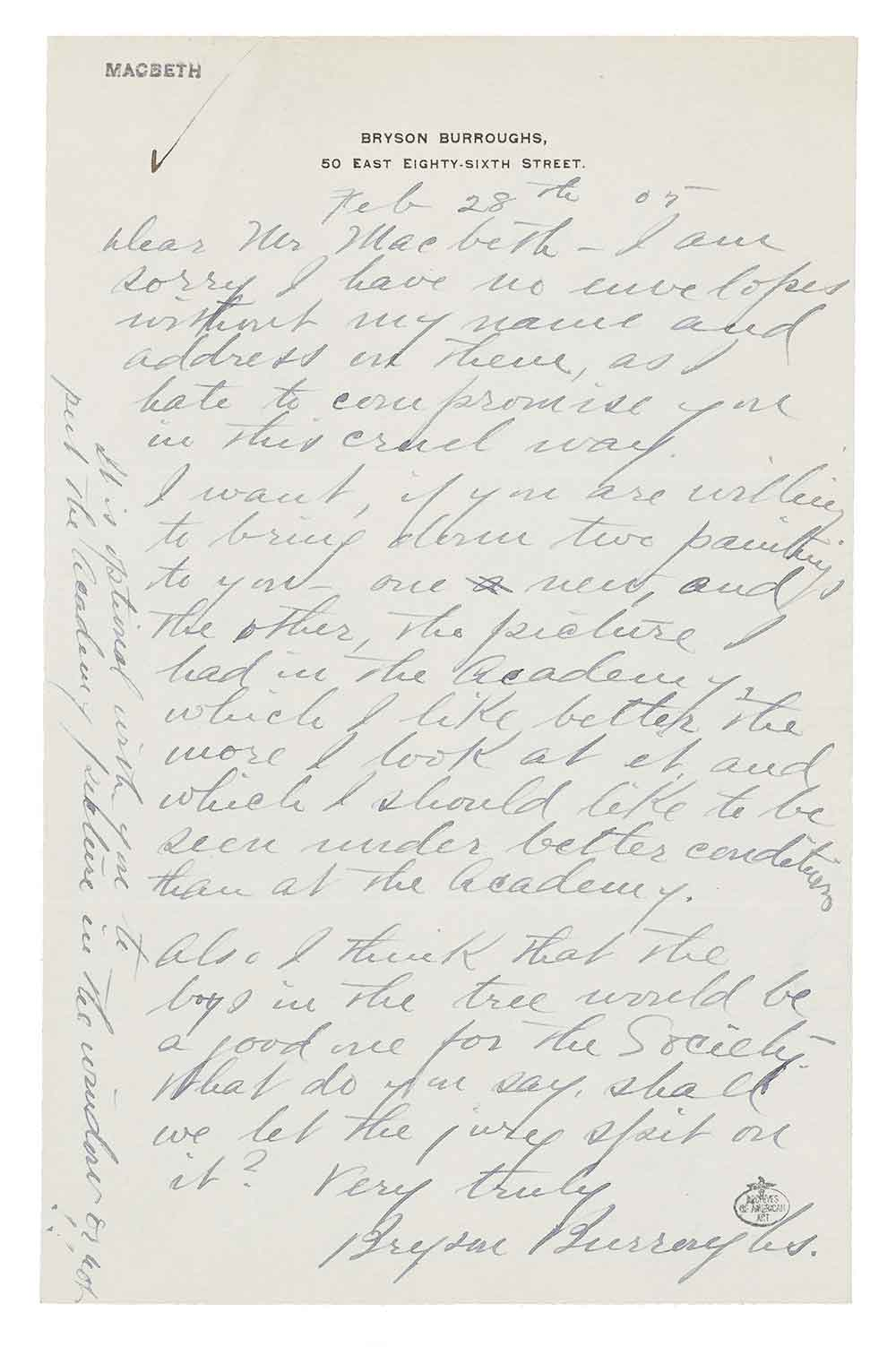 Letter received by William Macbeth from Bryson Burroughs