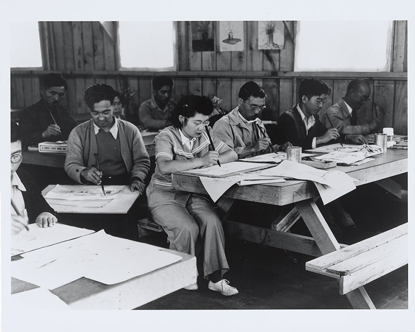 Photograph of adult art class at Tanforan by Dorothea Lange