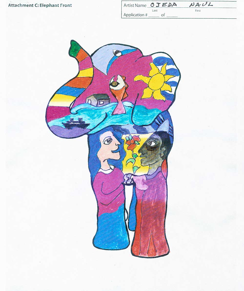 Scan of preparatory sketch of elephant for Party Animals by Naul Ojeda
