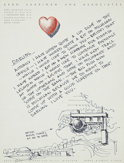 Illustrated letter from Eero Saarinen to Aline Louccheim