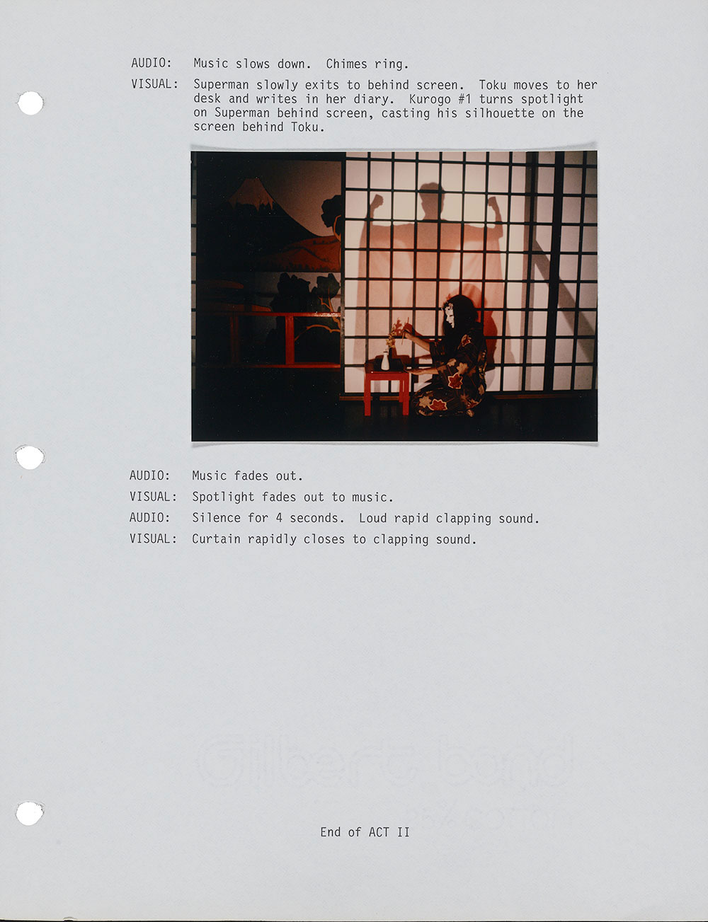 Page from the script for Roger Shimomura's Seven Kabuki Plays