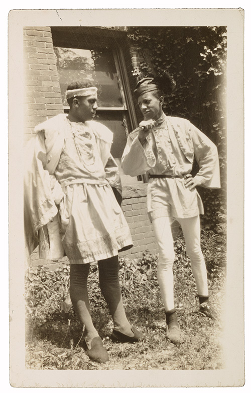 Two men at Howard University wearing Renaissance costumes