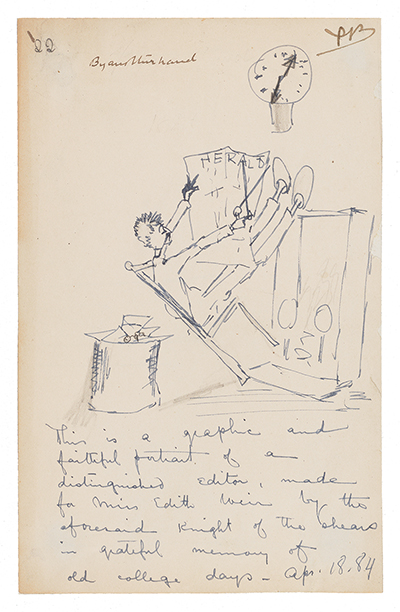 Illustrated note sent to Edith Weir by journalist and author Poultney Bigelow.