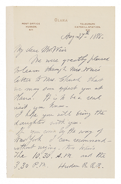 Letter from Frederic Edwin Church to John Ferguson Weir dated August 27, 1888