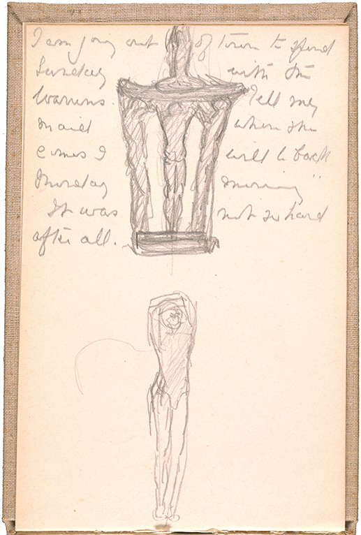Page of drawings from Gertrude Vanderbilt Whitney's sketchbook