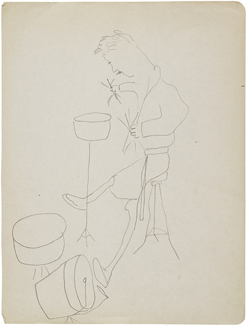 Susanna De Maria Wilson, Morning Drum Session, ca. 1960–1966, graphite. Susanna De Maria Wilson papers, 1960–1966, Archives of American Art, Smithsonian Institution.