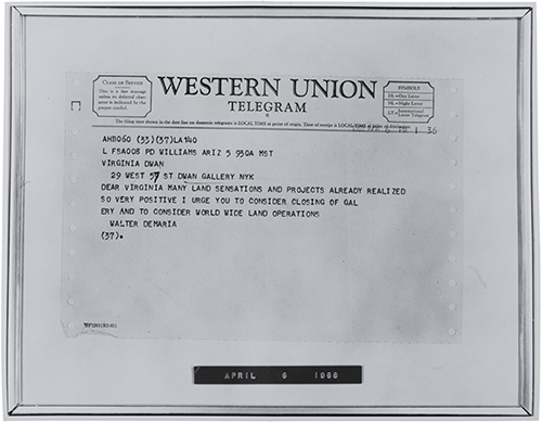 Figure 7  Telegram, April 6, 1968, 1968, telegram. Dwan Gallery Records, 1959–ca. 1982, bulk 1959–1971, Archives of American Art, Smithsonian Institution.