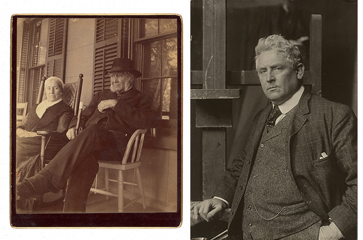 Side-by-side photographs of Robert Walter Weir, next to his wife Susan Bayard Weir, and Julian Alden Weir in his studio.