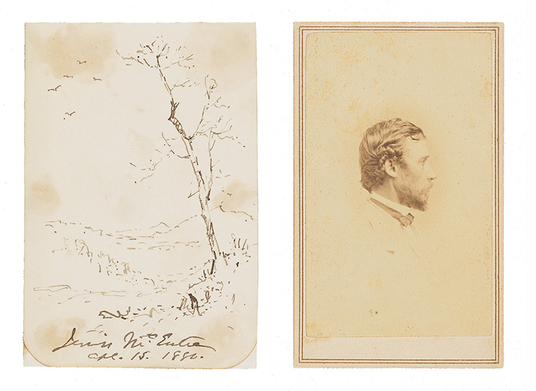 Sketch by Jervis McEntee of birds in flight and a tree, side-by-side with a studio photograph of Sanford Robinson Gifford