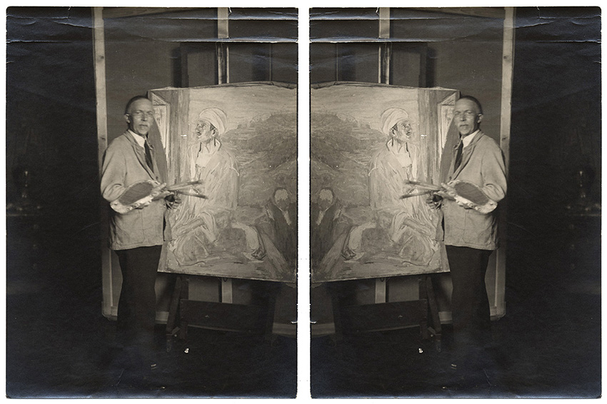 Photograph of Henry Tanner at an easel with the same image in reverse