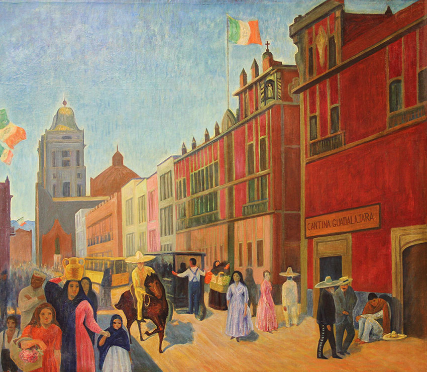 Image of the painting Street in Mexico by Walter Pach
