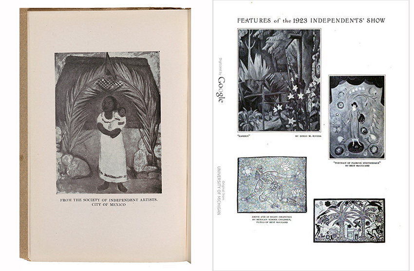 Images of a page from the Society of Independent Artists 1923 catalog showing The Family of the Communist by Diego Rivera and a scan of Vol. 76 of The International Studio with an image of Garden by Diego Rivera