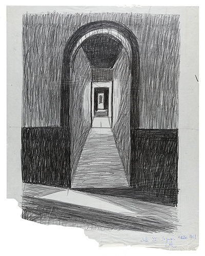 Black and white pencil sketch of a long hallway by Emilio Sanchez