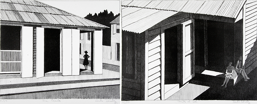 Two black and white prints of houses, one with a figure standing in a doorway, the other with two figures sitting on a porch.