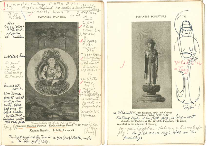 Pages from a book showing photographs of buddhas in two styles and annotated in pencil, ink, and red wax pencil.