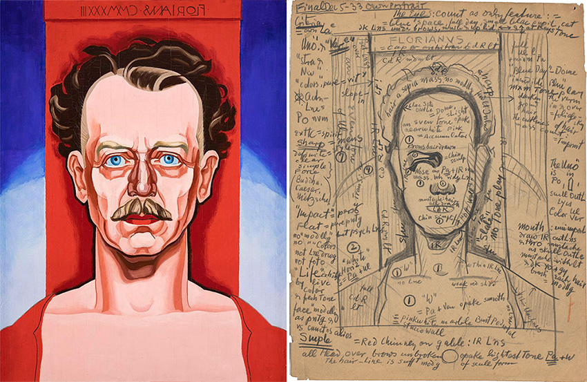 Portrait of a man in a red shirt against a red, blue, and white background next to a pencil sketch of a the same image with extensive notes.