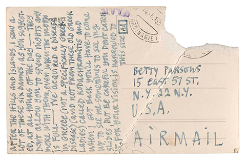 Postcard to Betty Parsons from Ad Reinhardt