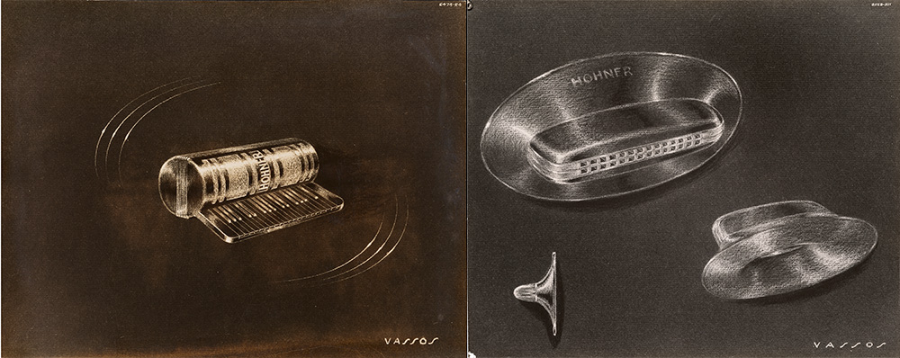 John Vassos' concept drawings of harmonicas
