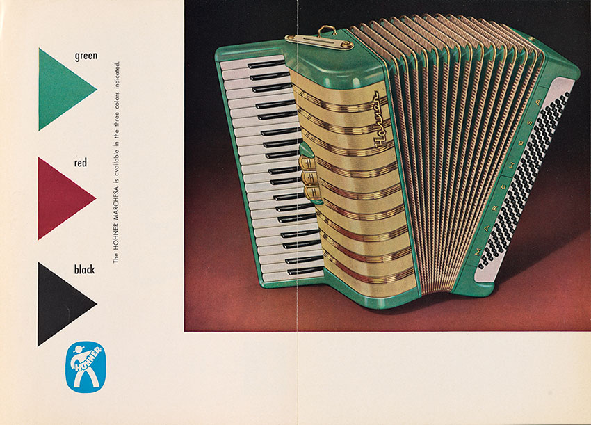 Page from brochure advertisement for the Marchesa accordion.