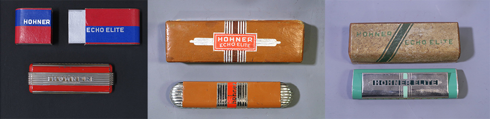 Versions of the Echo Elite harmonica made by the Hohner company and designed by John Vassos