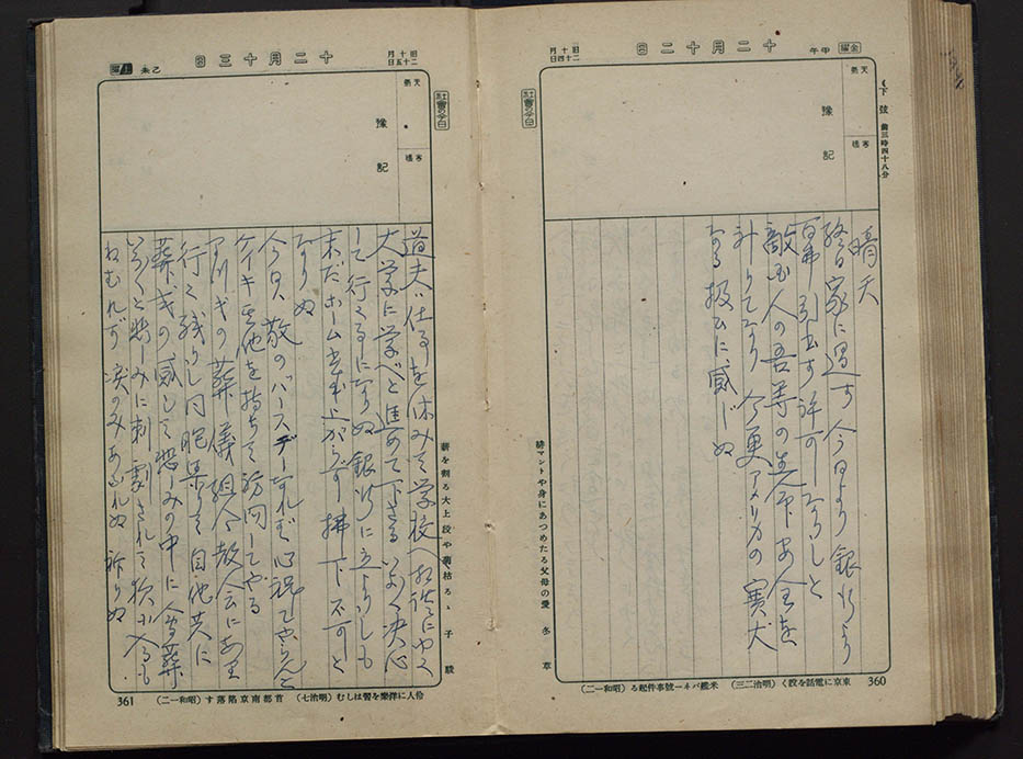 Entry for December 12, 1941 from the Toku Shimomura Diary