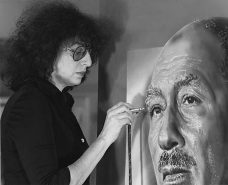 Portrait of Anwar El-Sadat being painted by Audrey Flack