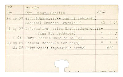 Card from the Carnegie Institute Museum of Art card catalog (correspondence) index files.