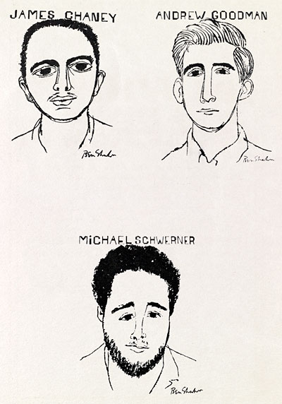 Interior of playbill with prints by Ben Shahn depicting James Chaney, Andrew Goodman, and Michael Schwerner